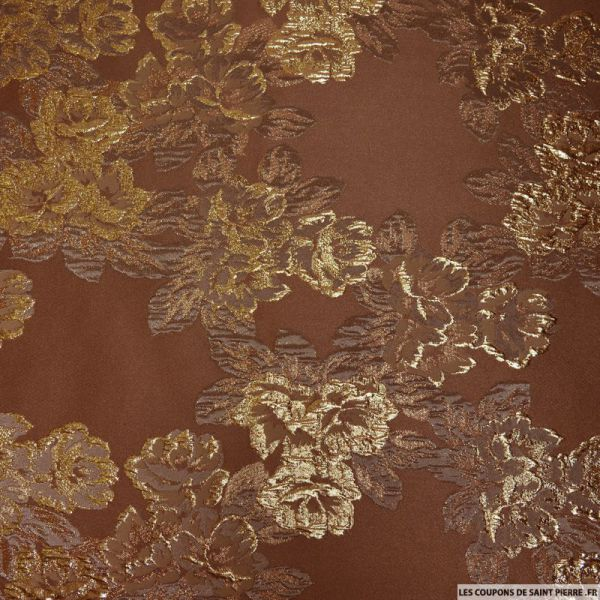 Tissu brocart taupe fleurs or