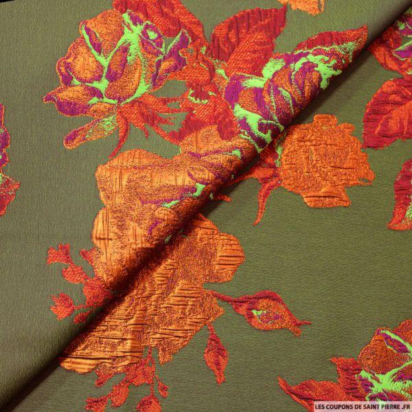 Tissu brocart kaki fleurs orange nacré