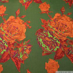 Brocart kaki fleurs orange nacré