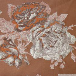 Brocart taupe fleurs argent