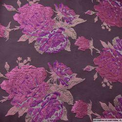 Brocart marron fleurs violette