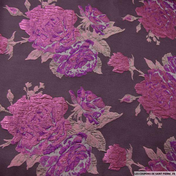 Tissu brocart marron fleurs violette