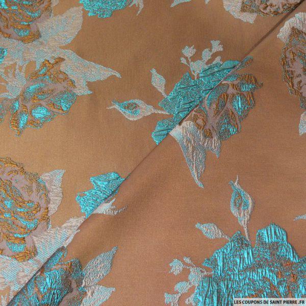 Tissu brocart taupe fleurs turquoise - Les tissus de st pierre ...