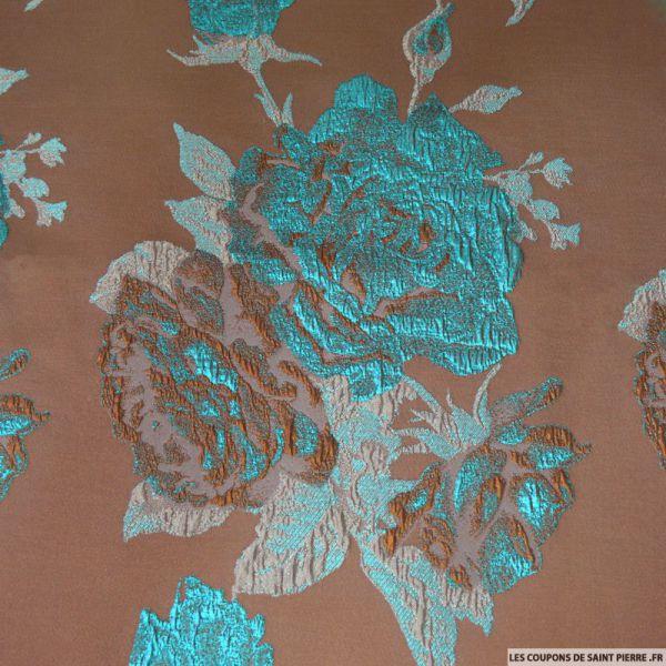 Tissu Brocart Taupe Fleurs Turquoise