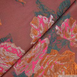 Tissu brocart ocre fleurs rose
