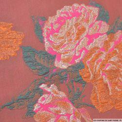 Brocart ocre fleurs rose