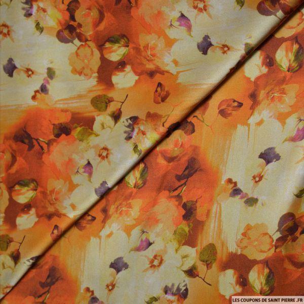 Tissu satin de soie imprimé couché de soleil
