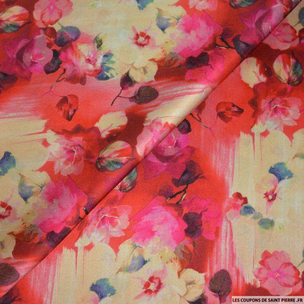Tissu satin de soie imprimé fleurs sur fond rouge et ocre