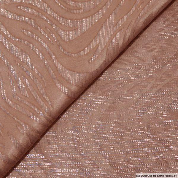 Tissu dévorée de soie rose poudré