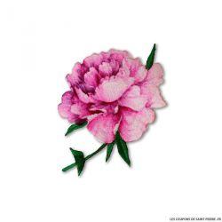 Écusson brodé pivoine rose autocollant ou a thermocoller