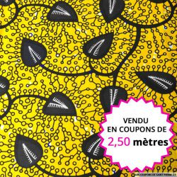 Wax africain feuille bleu nuit fond jaune vendu en coupon de 2,50 mètres