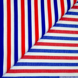 Tissu polyviscose rayé bleu blanc rouge
