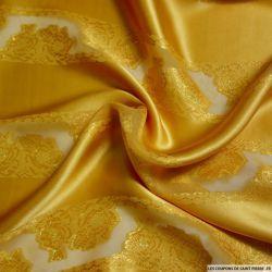 Satin de Soie or bandes de jacquard tissées dorées