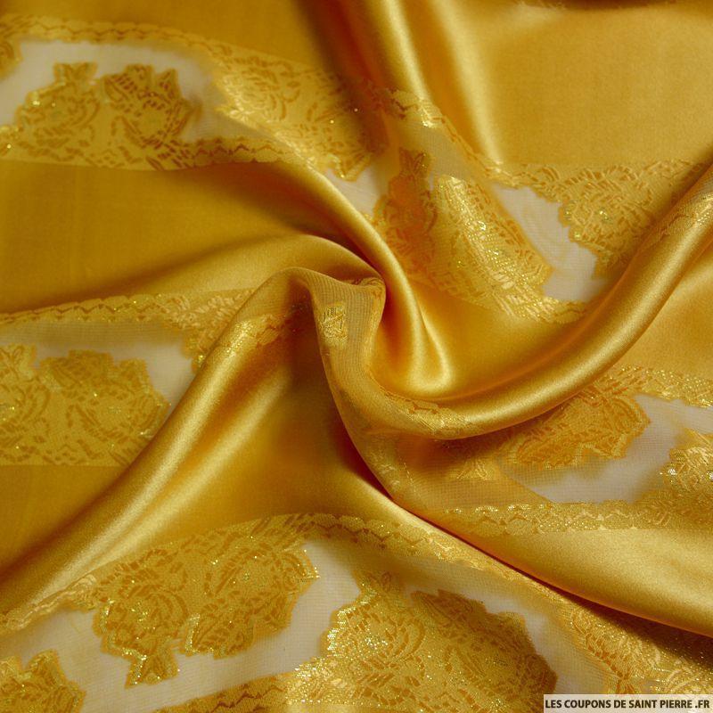 Bien connu Tissu Jawhara Satin de Soie or bandes de jacquard tissées dorées PT31