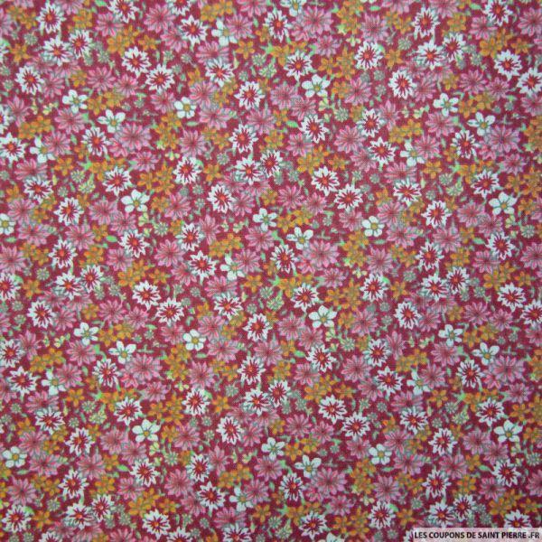 Coton imprimé fleurs rouge et rose