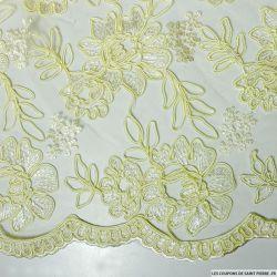 Tulle dentelle brodé fleurs ivoire