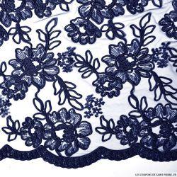 Tulle dentelle brodé fleurs bleu nuit