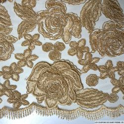 Tulle dentelle brodé fleurs doré