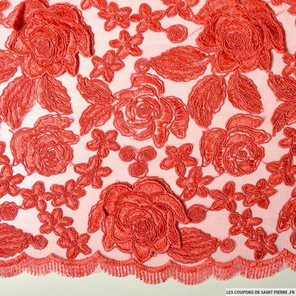 Tulle dentelle brodé roses capucine