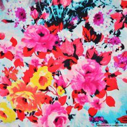 Satin de soie imprimé florale