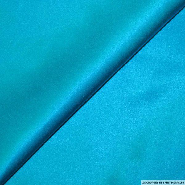 Satin de Soie uni bleu céruléen