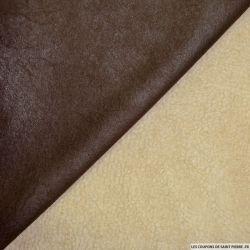 Suédine double face fourrure mouton marron foncé