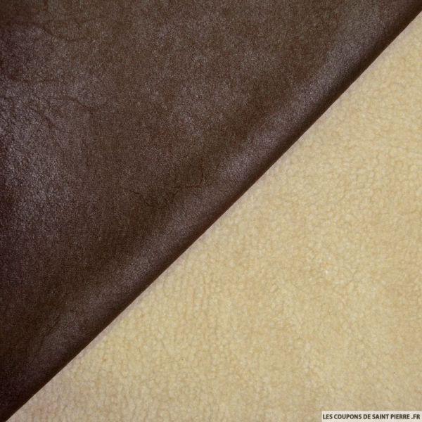 Tissu simili cuir fourré mouton marron foncé