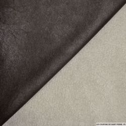 Tissu simili cuir fourré mouton noir