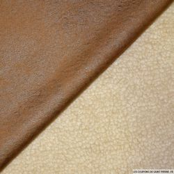 Tissu simili cuir fourré mouton camel