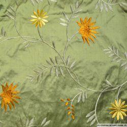 Soie sauvage / Doupion de soie brodé vert