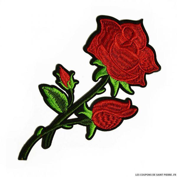 Écusson brodé rose rouge