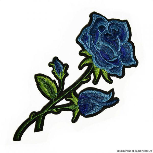 Écusson brodé rose bleue à thermocoller