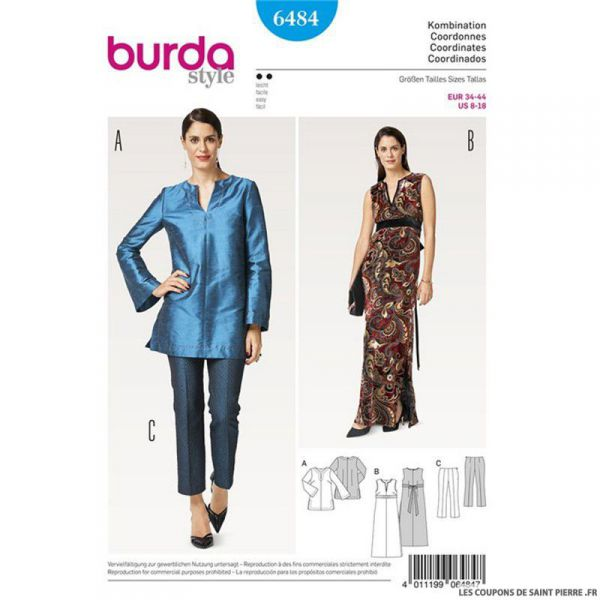 Patron Burda n°6484 : Tunique et pantalon