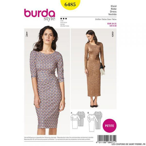 Patron Burda n°6485 : Robe fourreau