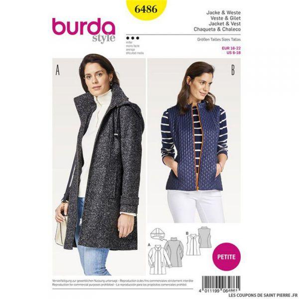 Patron Burda n°6486 : Veste à capuche