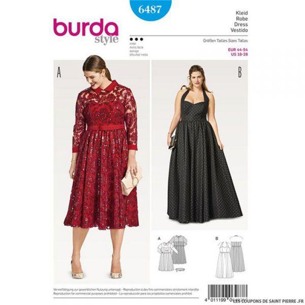 Patron Burda n°6487 : Robe de soirée