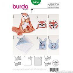 Patron Burda n°6494 : serviette de bain à capuche