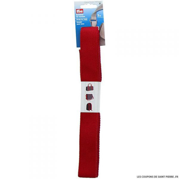 Sangle en coton pour sacs 30 mm rouge