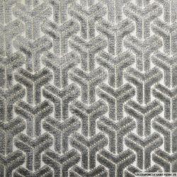 Velours jacquard géométrique gris