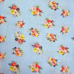 Coton imprimé fleurs et rayures bleu