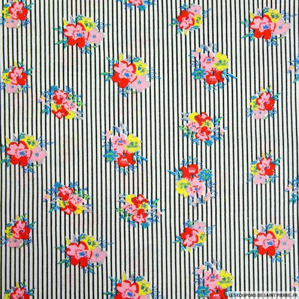 Coton imprimé fleurs et rayures noir