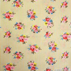 Coton imprimé fleurs et rayures beige