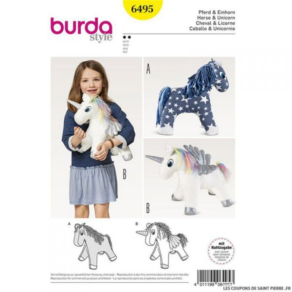 Patron Burda n°6495: Peluche licorne