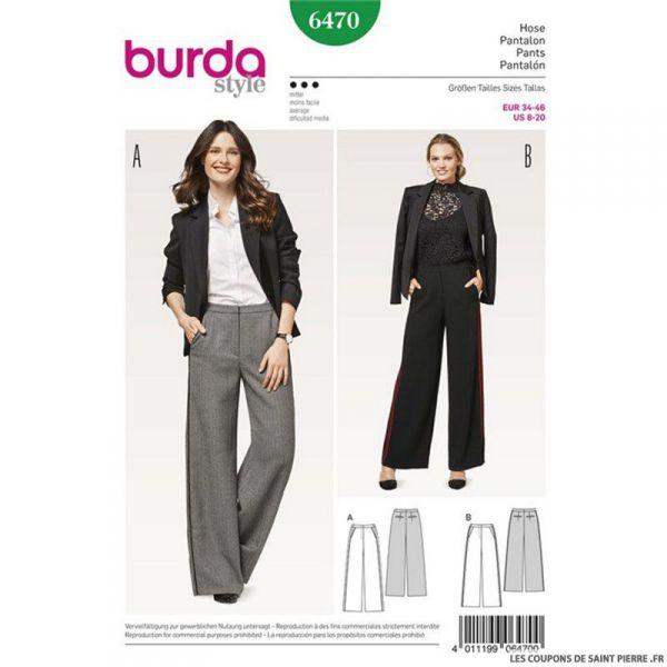 Patron Burda n°6470 : Pantalon jambes droites