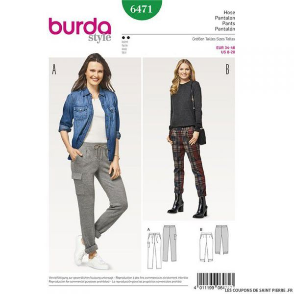 Patron Burda n°6471 : Pantalon décontracté