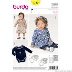 Patron Burda n°9347: Robe avec body bébé