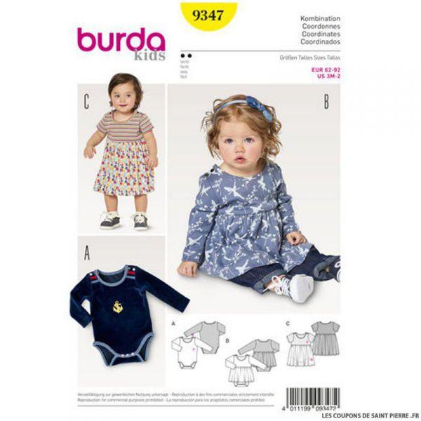 Patron Burda n°6347: Robe avec body bébé