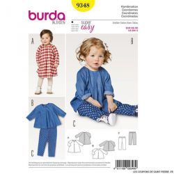 Patron Burda n°9348: Blouse et pantalon bébé