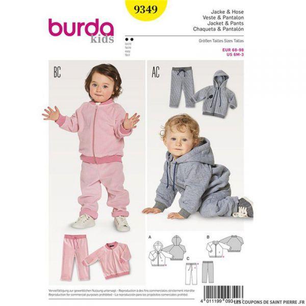 Patron Burda n°9349: Survêtement bébé