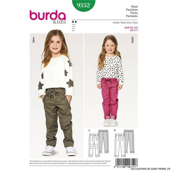 Patron Burda n°9352: Pantalon large enfant